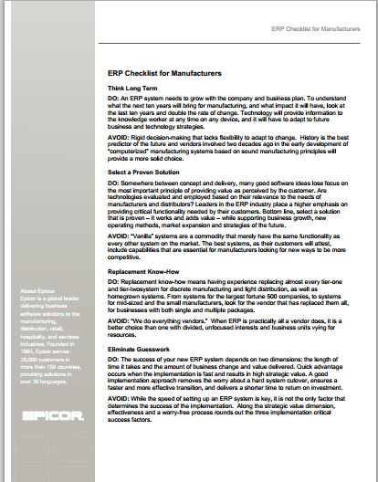 ERP checklist for manufacturers